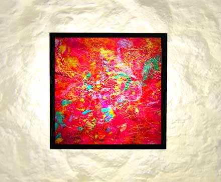 Interior design lighting ideas - art lights by UK fibre artist Mary-Clare Buckle - 'Seeing Pink' - shown hanging