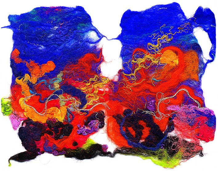 Contemporary abstract fiber art by fiber artist and felt maker Mary-Clare Buckle - 'Atoll' detail