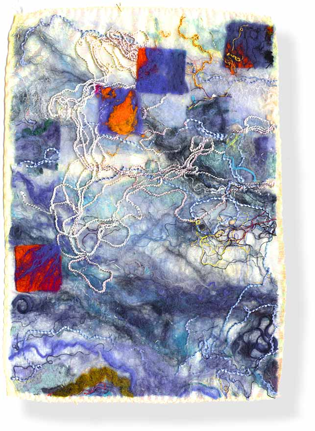 Contemporary abstract fiber art (feltmaking) by UK textile artist and feltmaker Mary-Clare Buckle - 'The Beach'