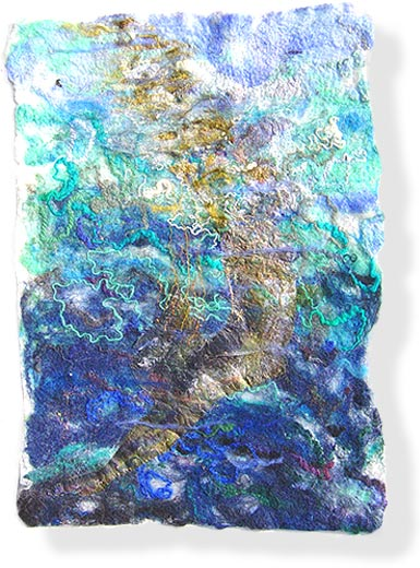Contemporary semi-abstract textile art by textile artist and feltmaker Mary-Clare Buckle - 'Swimmer'