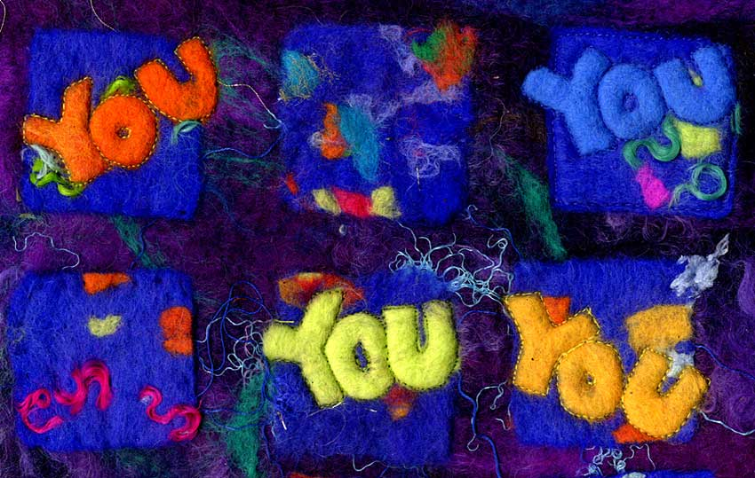 Semi-abstract texile art by Mary-clare Buckle - 'You' (detail)